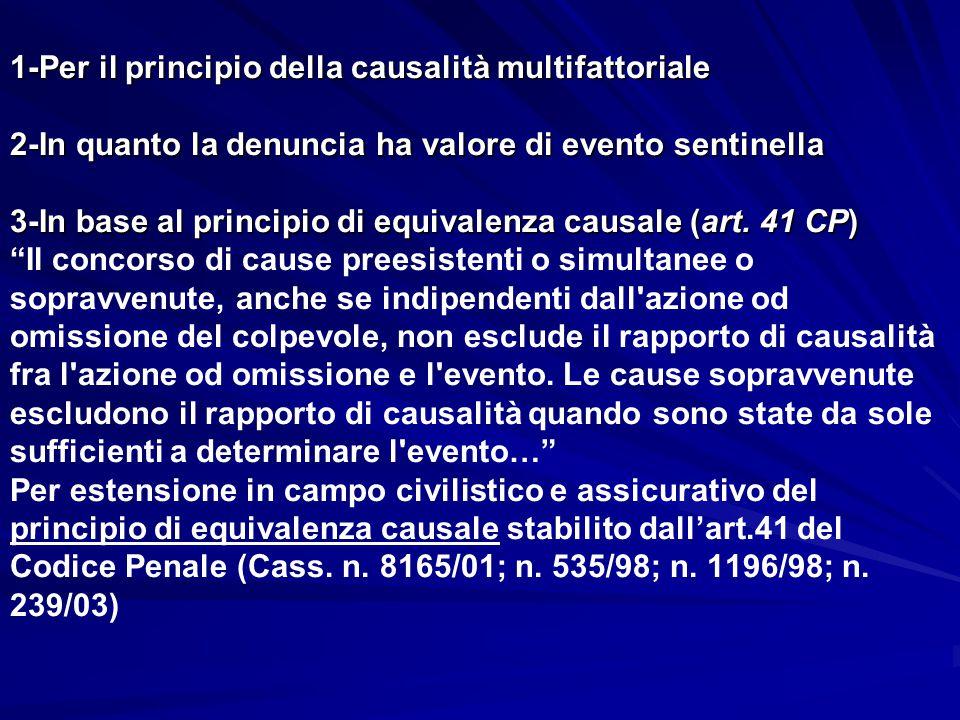 1-Per il principio della causalità multifattoriale 2-In quanto la denuncia ha valore di evento sentinella 3-In base al principio di equivalenza causale (art. 41 CP) Il concorso di cause preesistenti o simultanee o sopravvenute, anche se indipendenti dall azione od omissione del colpevole, non esclude il rapporto di causalità fra l azione od omissione e l evento. Le cause sopravvenute escludono il rapporto di causalità quando sono state da sole sufficienti a determinare l evento… Per estensione in campo civilistico e assicurativo del principio di equivalenza causale stabilito dall'art.41 del Codice Penale (Cass. n. 8165/01; n. 535/98; n. 1196/98; n. 239/03)