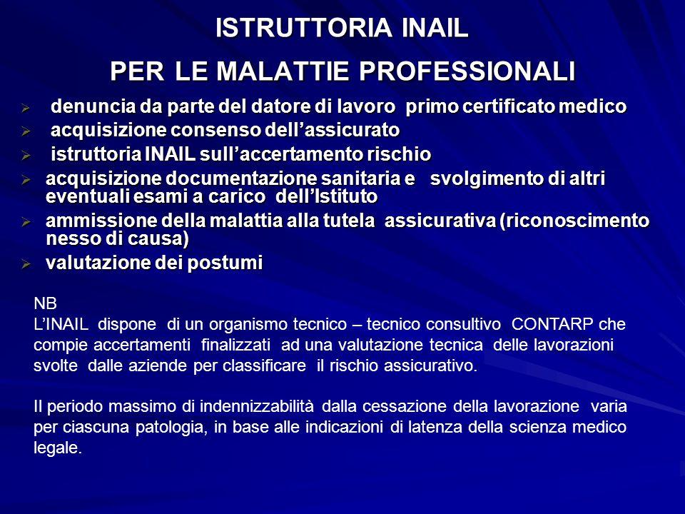 ISTRUTTORIA INAIL PER LE MALATTIE PROFESSIONALI