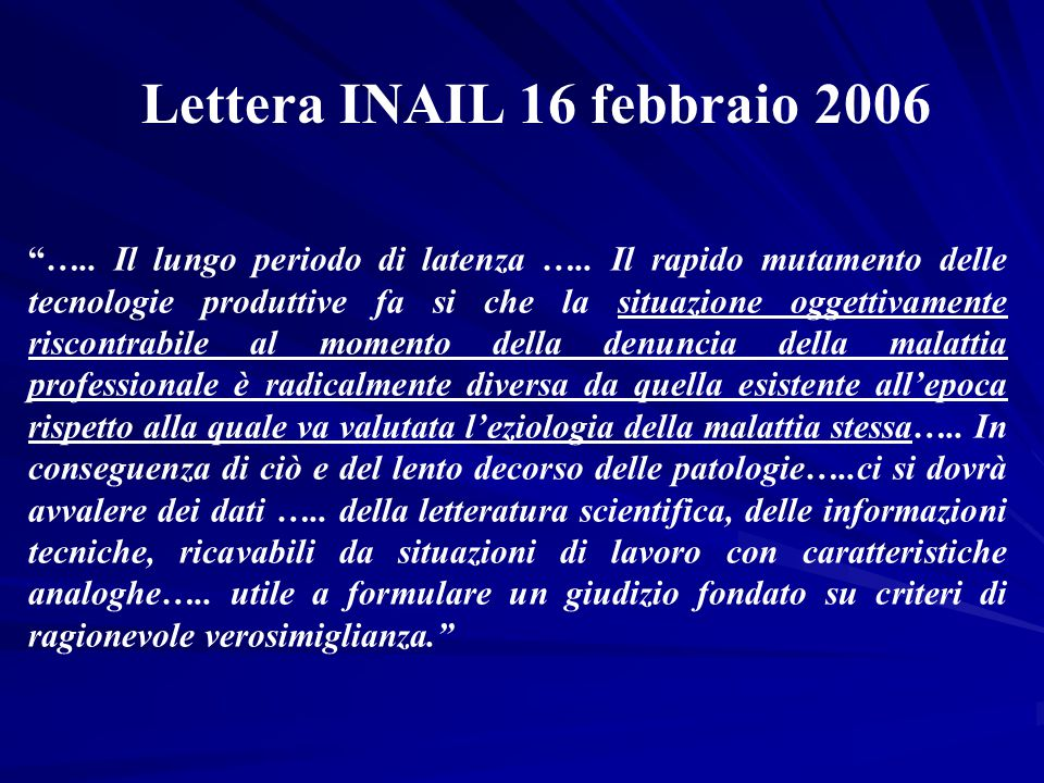 Lettera INAIL 16 febbraio 2006