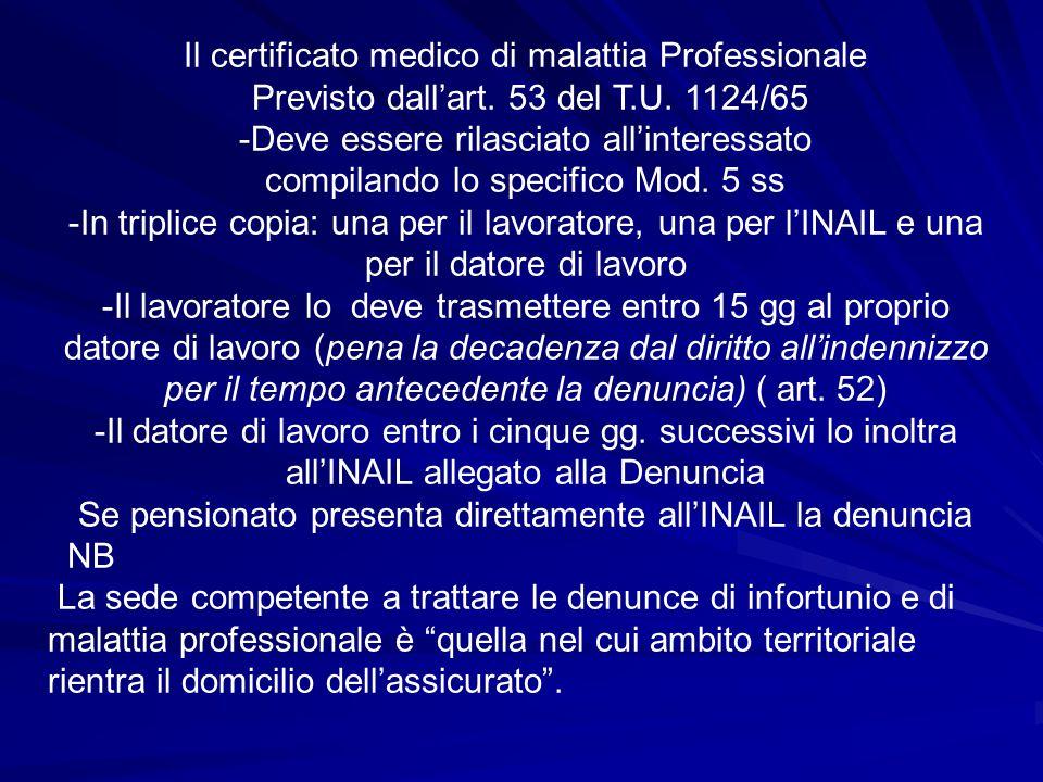 Il certificato medico di malattia Professionale