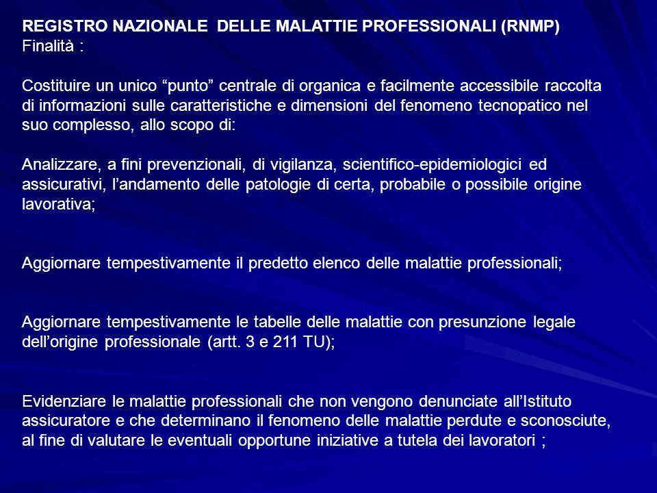 REGISTRO NAZIONALE DELLE MALATTIE PROFESSIONALI (RNMP)
