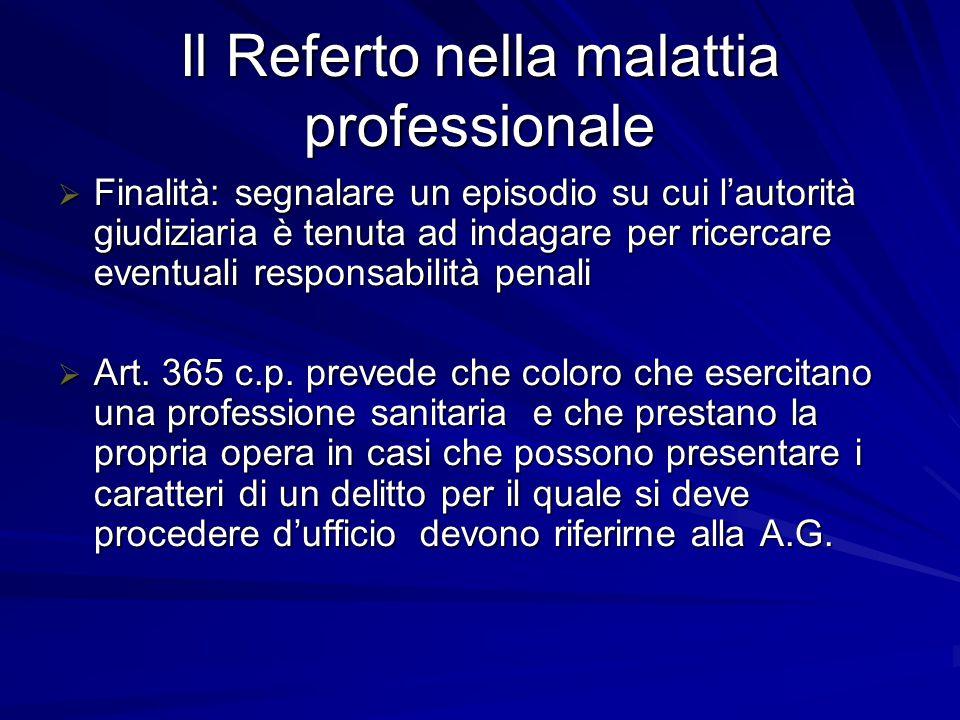 Il Referto nella malattia professionale