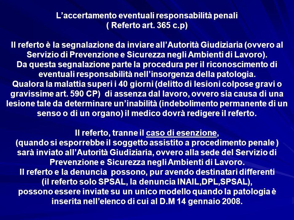 L'accertamento eventuali responsabilità penali ( Referto art. 365 c.p)