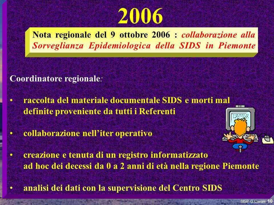 2006 Coordinatore regionale: raccolta del materiale documentale SIDS e morti mal. definite proveniente da tutti i Referenti.
