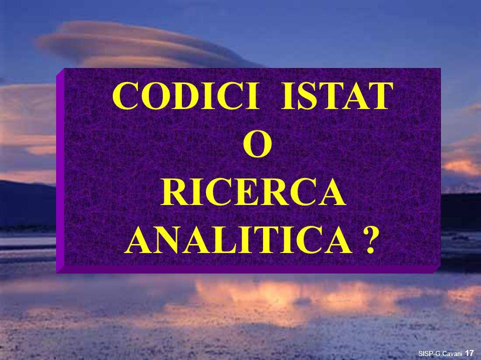 CODICI ISTAT O RICERCA ANALITICA
