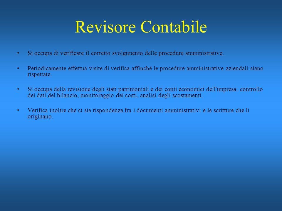 Revisore Contabile Si occupa di verificare il corretto svolgimento delle procedure amministrative.