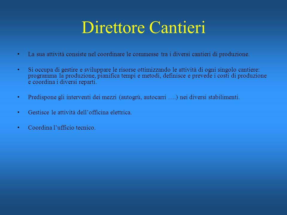 Direttore Cantieri La sua attività consiste nel coordinare le commesse tra i diversi cantieri di produzione.