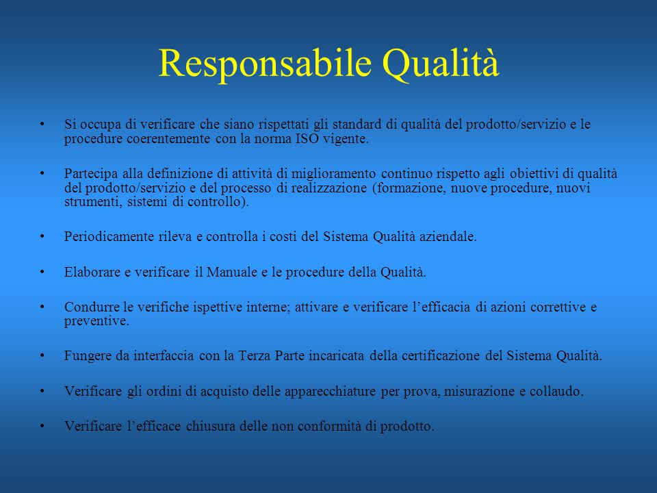 Responsabile Qualità