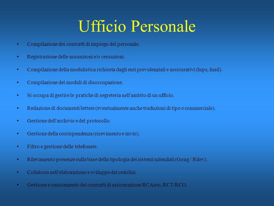 Ufficio Personale Compilazione dei contratti di impiego del personale.