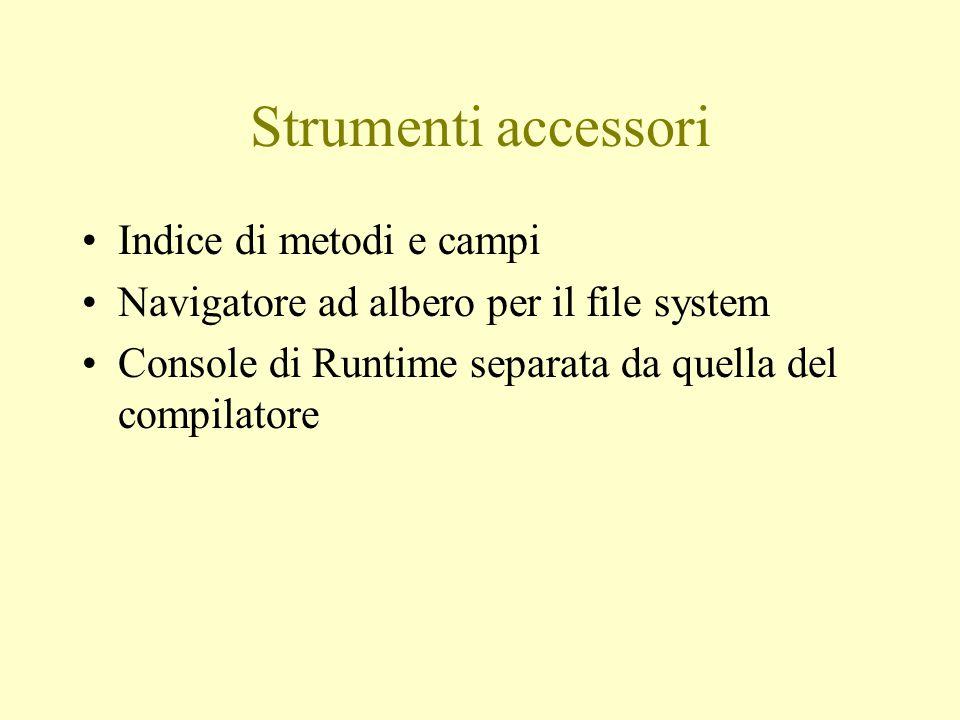 Strumenti accessori Indice di metodi e campi
