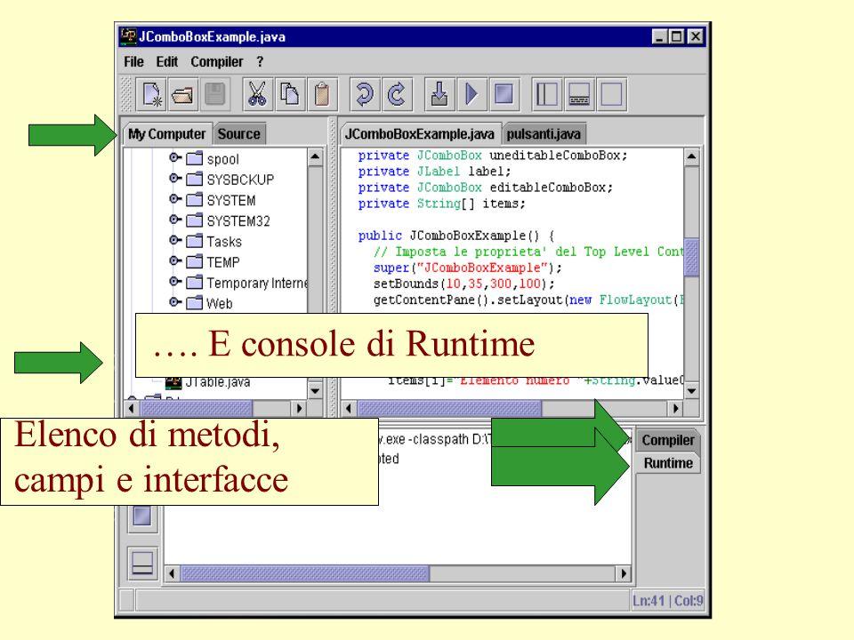 Vista attiva sul filesystem. …. E console di Runtime. Console del compilatore…. Elenco di metodi,