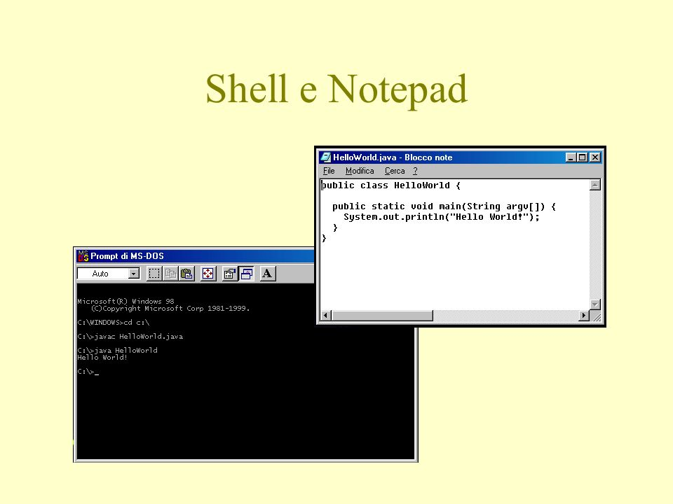 Shell e Notepad