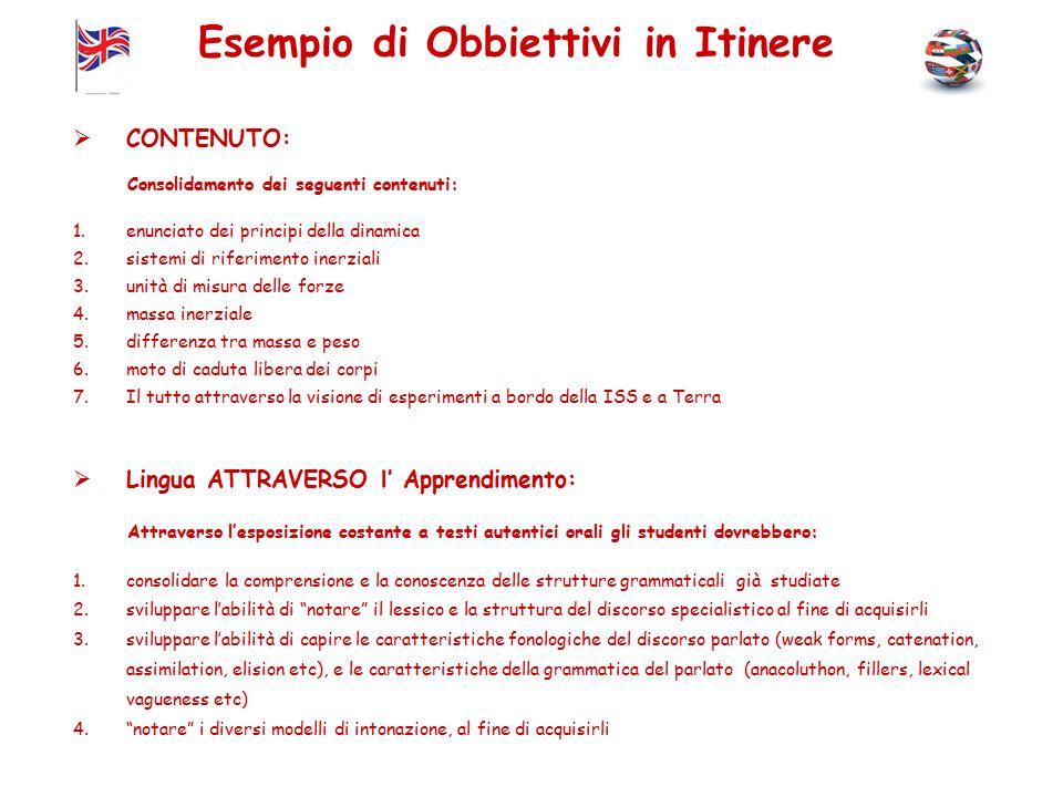 Esempio di Obbiettivi in Itinere