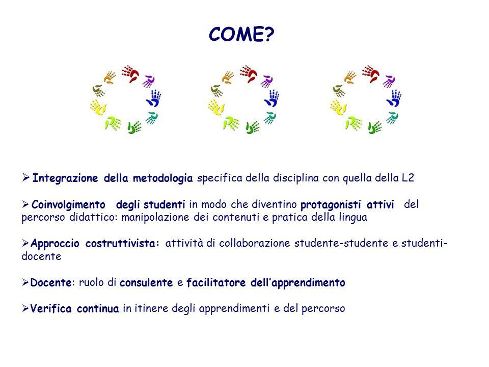 COME Integrazione della metodologia specifica della disciplina con quella della L2.