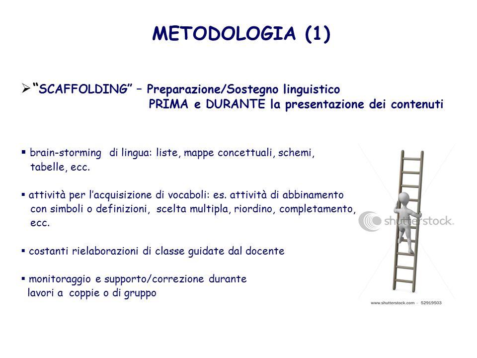 METODOLOGIA (1) SCAFFOLDING – Preparazione/Sostegno linguistico