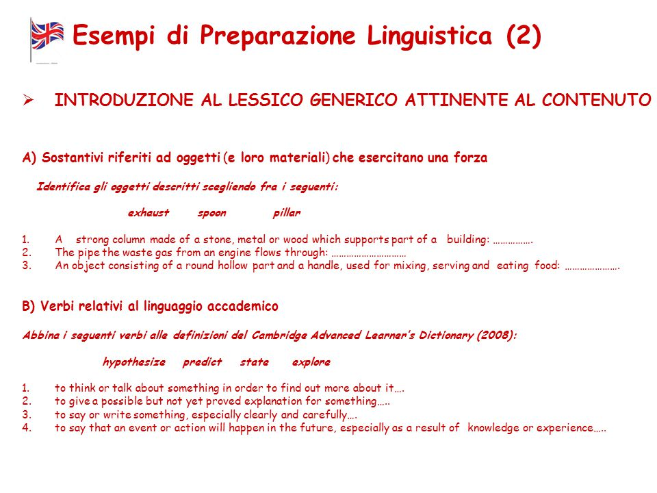 Esempi di Preparazione Linguistica (2)