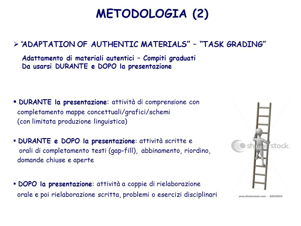 METODOLOGIA (2) ADAPTATION OF AUTHENTIC MATERIALS – TASK GRADING