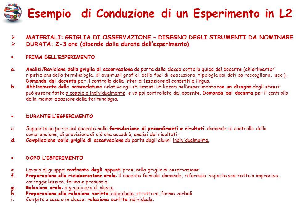 Esempio di Conduzione di un Esperimento in L2