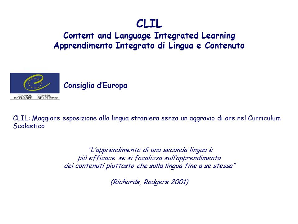 CLIL Consiglio d'Europa Content and Language Integrated Learning