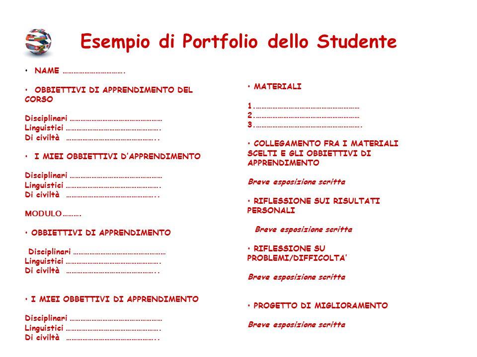 Esempio di Portfolio dello Studente