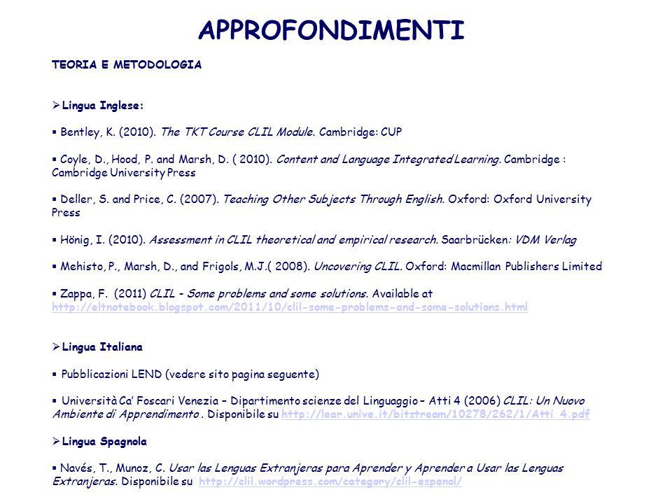 APPROFONDIMENTI TEORIA E METODOLOGIA Lingua Inglese: