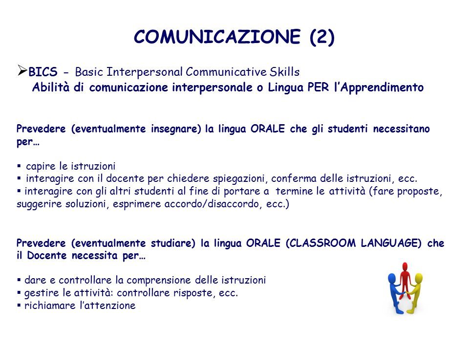 COMUNICAZIONE (2) BICS - Basic Interpersonal Communicative Skills