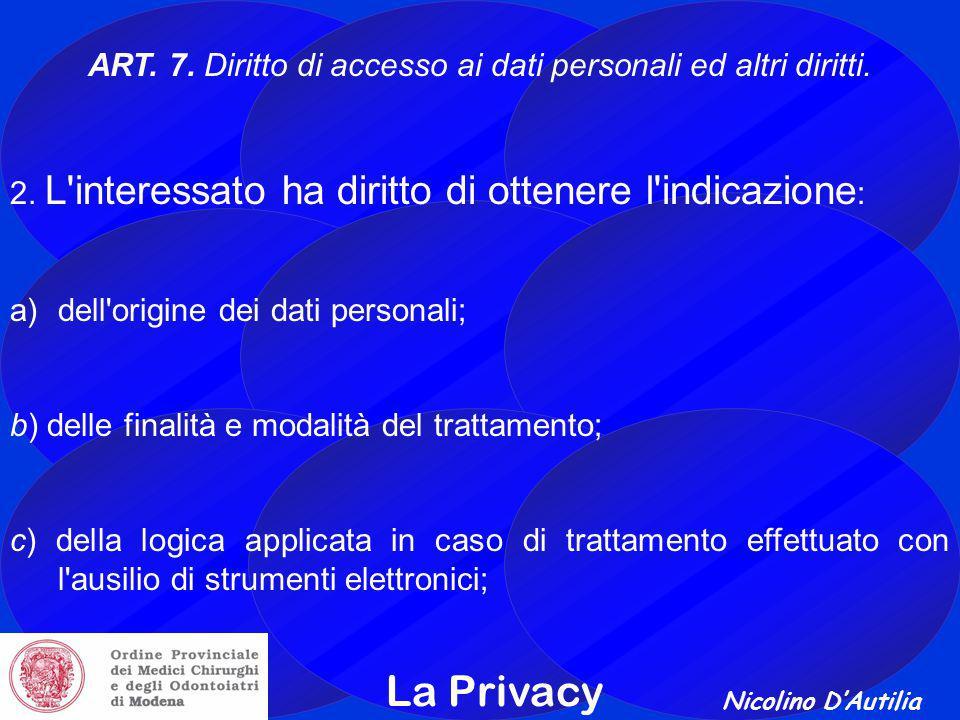 ART. 7. Diritto di accesso ai dati personali ed altri diritti.