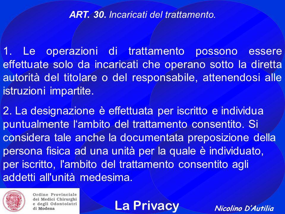 ART. 30. Incaricati del trattamento.