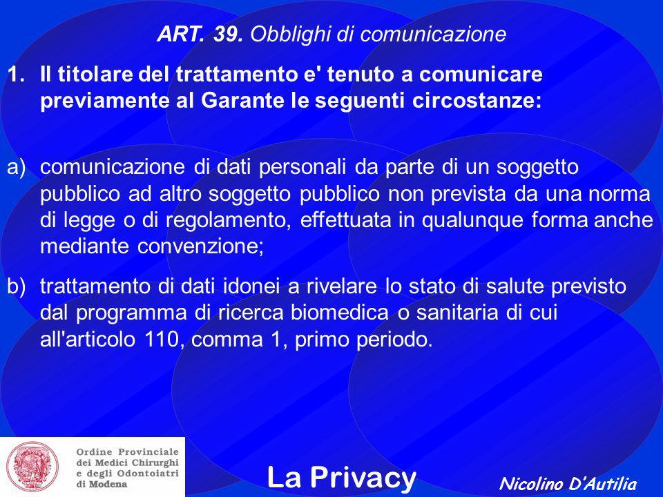 ART. 39. Obblighi di comunicazione