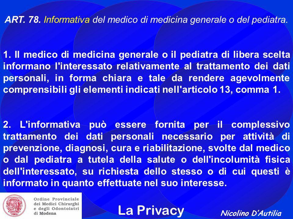 ART. 78. Informativa del medico di medicina generale o del pediatra.