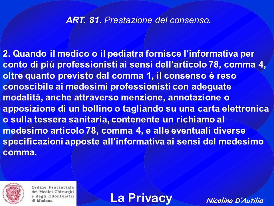 ART. 81. Prestazione del consenso.