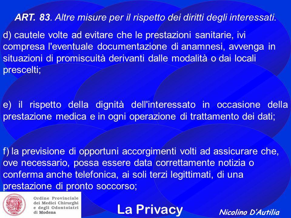 ART. 83. Altre misure per il rispetto dei diritti degli interessati.