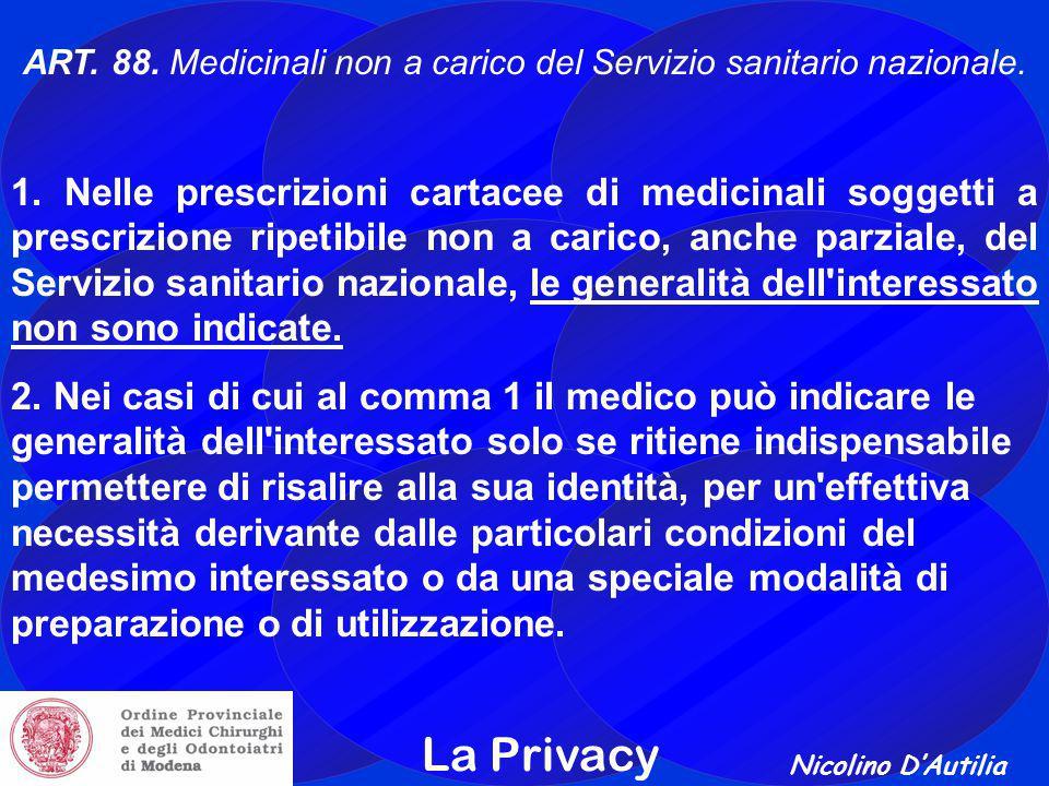 ART. 88. Medicinali non a carico del Servizio sanitario nazionale.