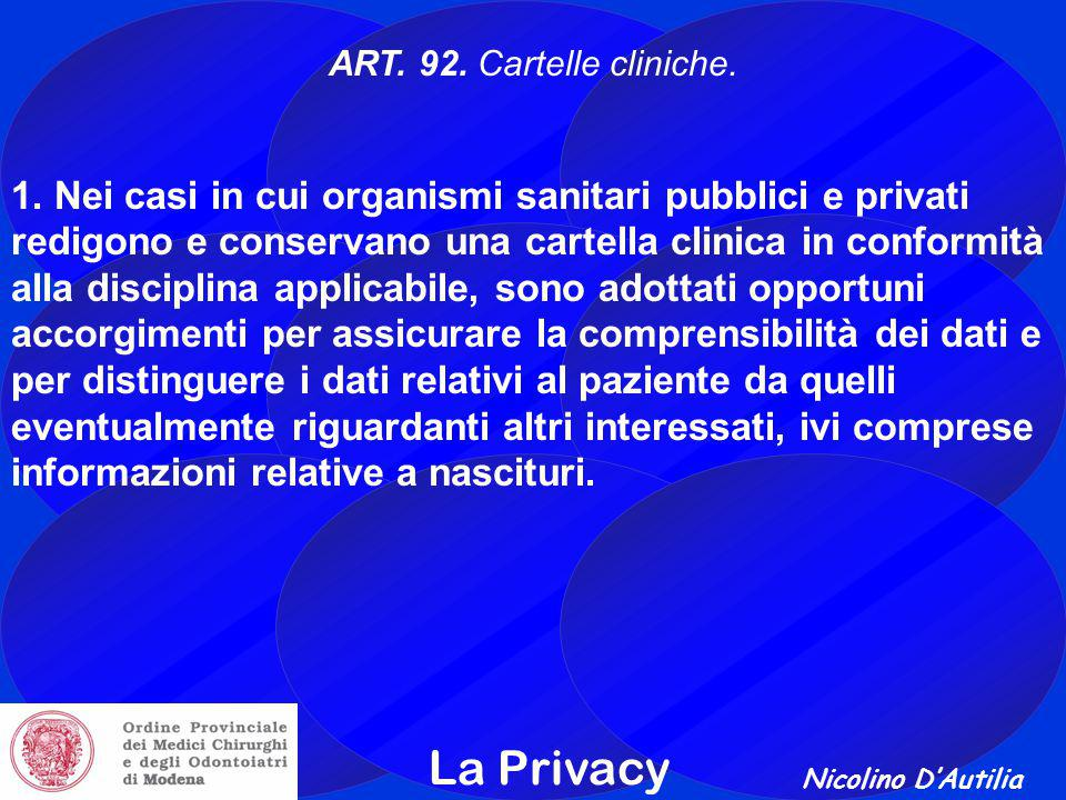 ART. 92. Cartelle cliniche.