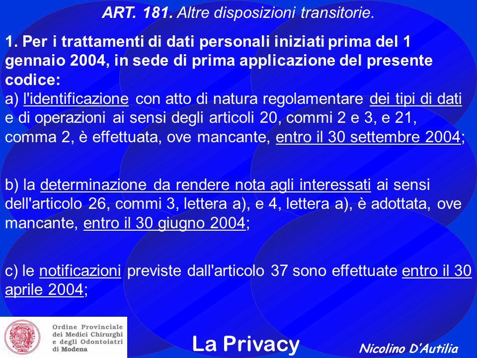 ART. 181. Altre disposizioni transitorie.