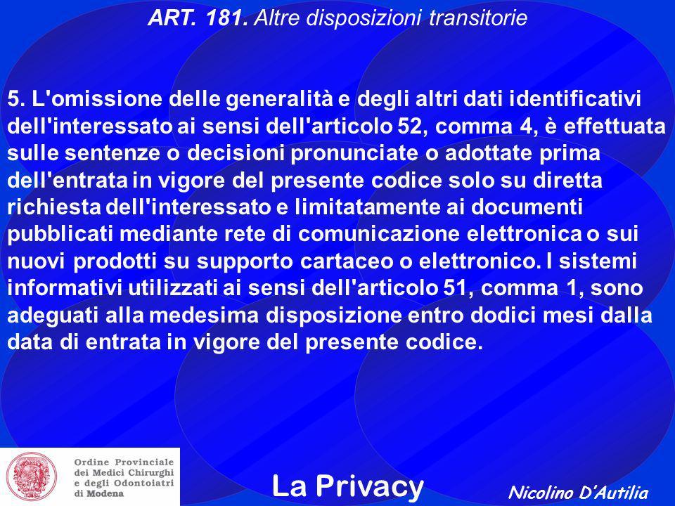 ART. 181. Altre disposizioni transitorie