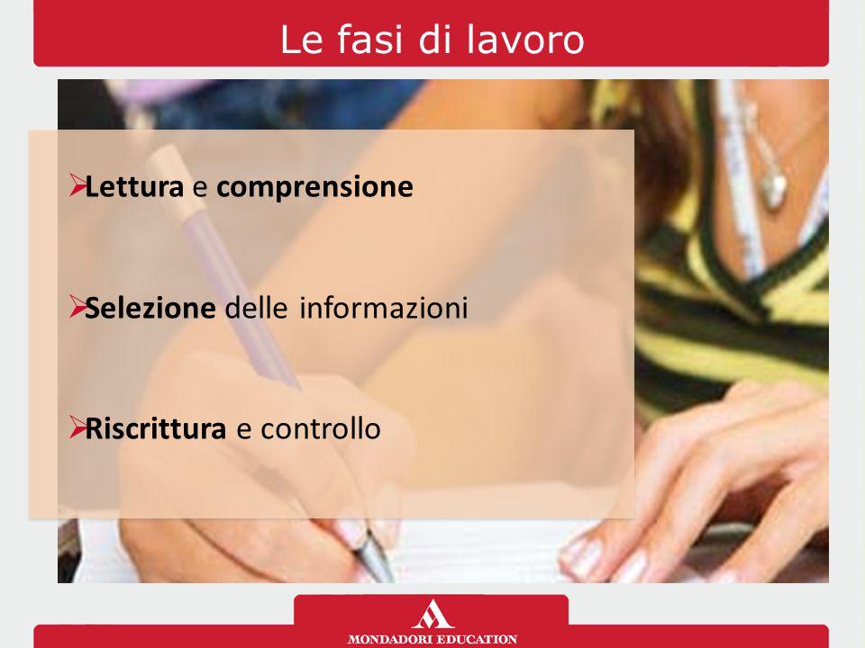 Le fasi di lavoro Lettura e comprensione Selezione delle informazioni