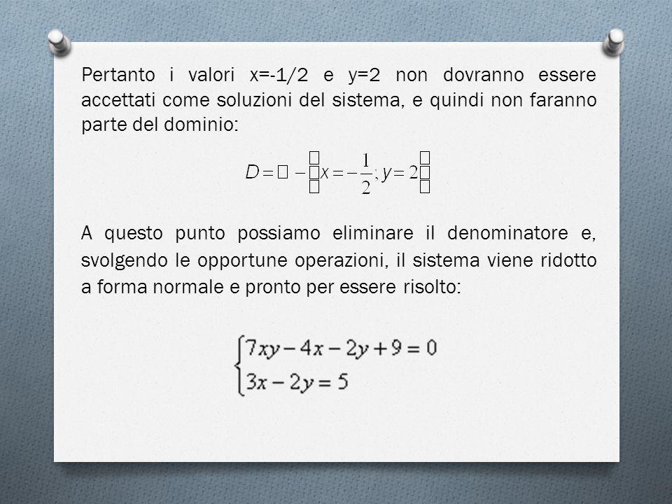 Pertanto i valori x=-1/2 e y=2 non dovranno essere accettati come soluzioni del sistema, e quindi non faranno parte del dominio: