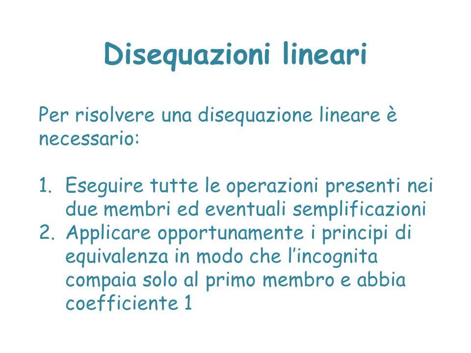 Disequazioni lineari Per risolvere una disequazione lineare è necessario: