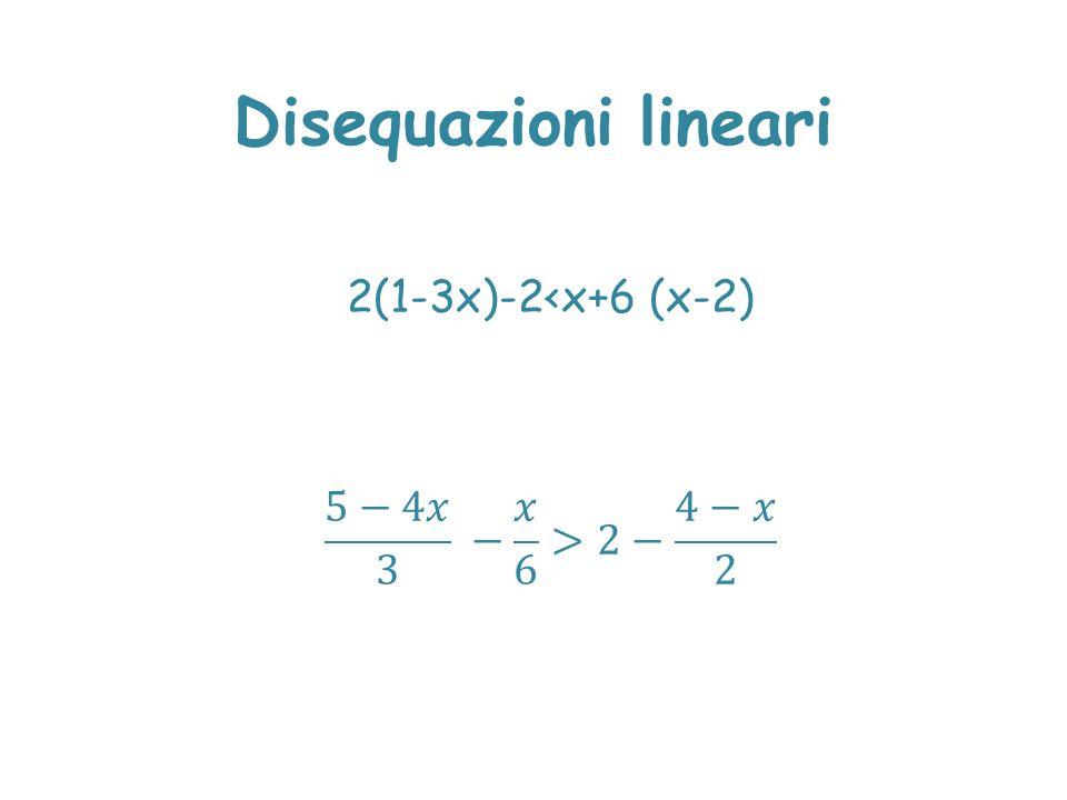 Disequazioni lineari 2(1-3x)-2<x+6 (x-2) 5−4𝑥 3 − 𝑥 6 >2− 4−𝑥 2
