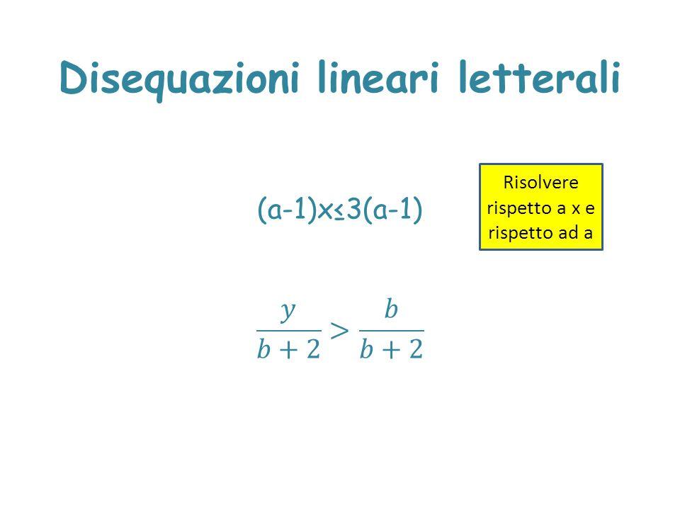 Disequazioni lineari letterali