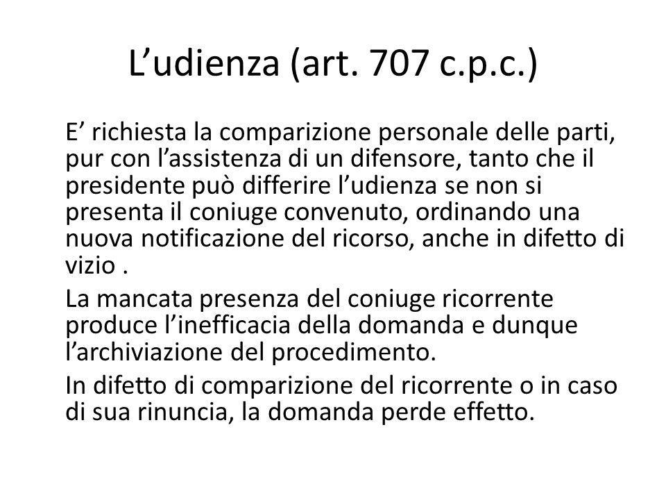 L'udienza (art. 707 c.p.c.)