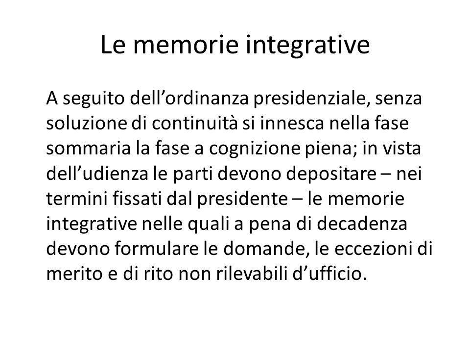 Le memorie integrative