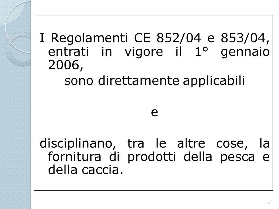 I Regolamenti CE 852/04 e 853/04, entrati in vigore il 1° gennaio 2006, sono direttamente applicabili e disciplinano, tra le altre cose, la fornitura di prodotti della pesca e della caccia.