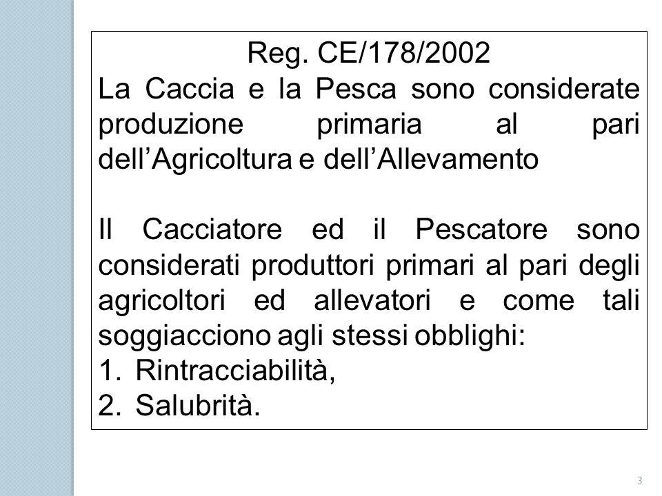 Reg. CE/178/2002 La Caccia e la Pesca sono considerate produzione primaria al pari dell'Agricoltura e dell'Allevamento.