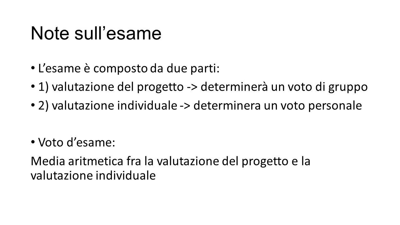 Note sull'esame L'esame è composto da due parti: