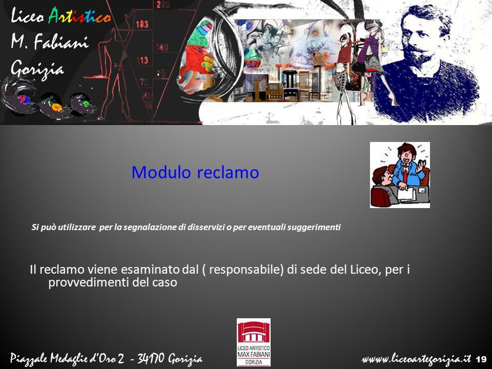Liceo Artistico M. Fabiani Gorizia Modulo reclamo