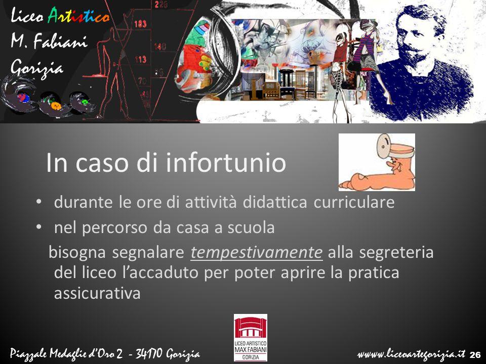In caso di infortunio Liceo Artistico M. Fabiani Gorizia