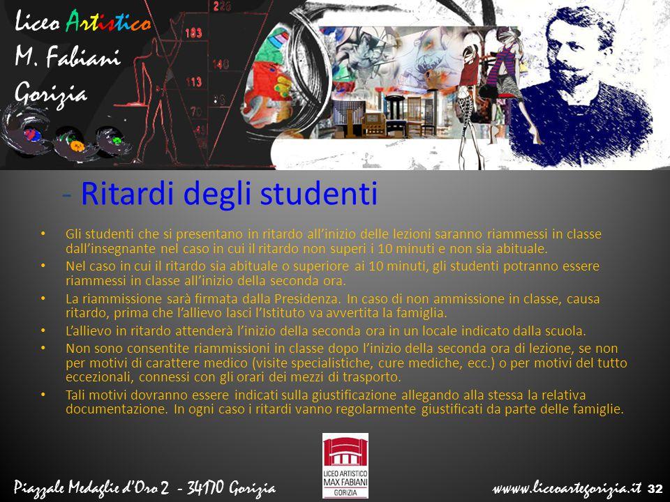 - Ritardi degli studenti