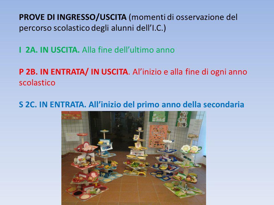 PROVE DI INGRESSO/USCITA (momenti di osservazione del percorso scolastico degli alunni dell'I.C.)